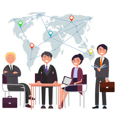 International business map with locations vector