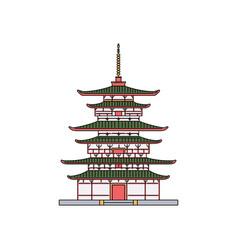 japanese pagoda building pavilion cartoon sketch vector image