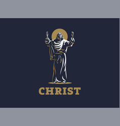 jesus raised his hands in prayer vector image