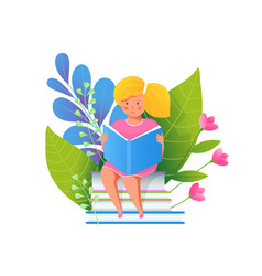 little girl reading book flat vector image