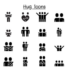 lover hug friendship relationship icon set vector image