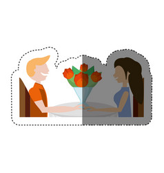 Loving couple sitting date romance shadow vector