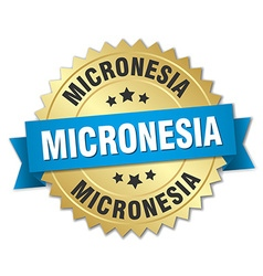 Micronesia round golden badge with blue ribbon vector image