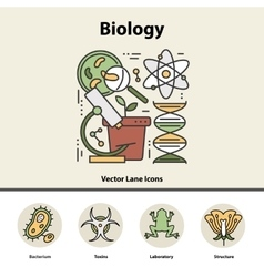 Modern color thin line concept of biology vector