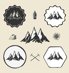 mountain alpinism vintage icon flat web sign vector image