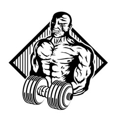 Muscular athlete with dumbbell vector