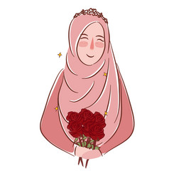 Muslim girl with roses wearing veil islamic vector