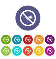 No mosquito sign set icons vector