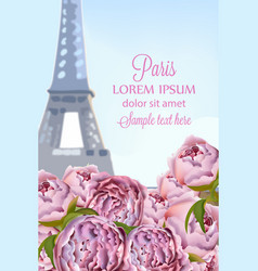 peony flowers in paris romantic card vector image