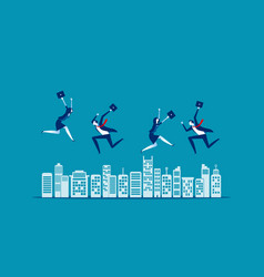 people jumping concept business city teamwork vector image