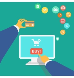 poster concept with icons buying product online vector image