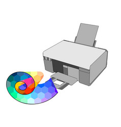 printer with multicolor paper vector image