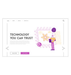 quantum computing or supercomputing landing page vector image