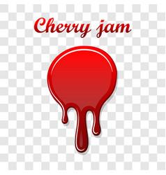Red cherry drip confiture 3d berry sweet jam spot vector