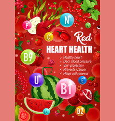 Red diet heart health vitamins food nutrition vector