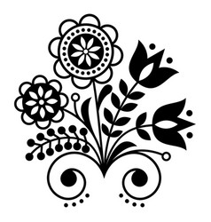 Scandinavian folk art ornament with flowers nordi vector