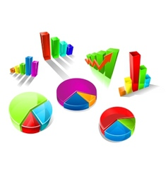 set colorful 3d graphs and charts vector image