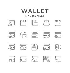 Set line icons wallet vector