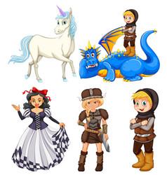 set medieval cartoon character vector image