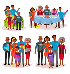 Set of afro-american family at holidays or festive vector