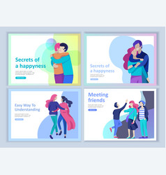 set of landing page templates for positive vector image