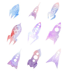 Set of spacecraft icons with watercolor vector