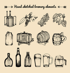 Set of vintage brewery elements retro vector