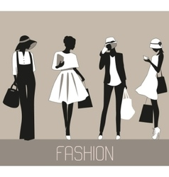 Silhouettes of Fashion women vector