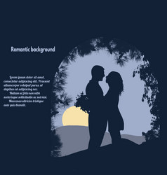 Silhouettes of lovers under the arch vector