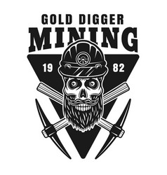 skull gold digger in helmet and pickaxes vector image