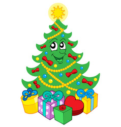 Smiling christmas tree with gifts vector