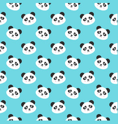 smiling panda faces seamless pattern vector image