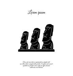 Statues moai on easter island icon sign vector