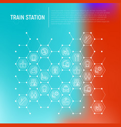 train station concept in honeycombs vector image