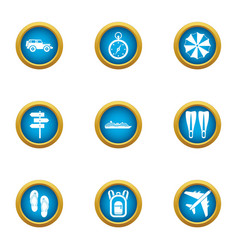 Tropical flight icons set flat style vector