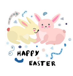 two easter bunnies with note vector image