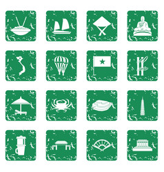 Vietnam travel icons set grunge vector