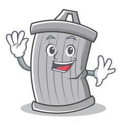 waving trash character cartoon style vector image