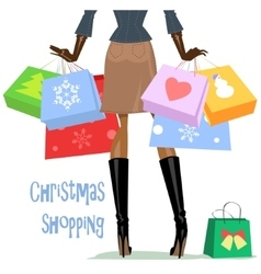 Woman carrying shopping bags vector image