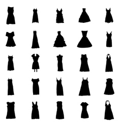 Woman dresses silhouettes set vector
