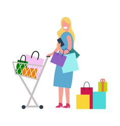 woman in process of shopping vector image