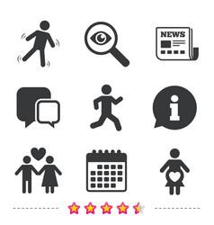 Women pregnancy icon human running symbol vector