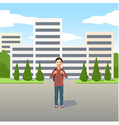 Young latino boy with school bag or backpack vector