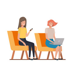 Young women sitting in chair with white background vector