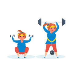 full girl engaged in sports exercises vector image vector image