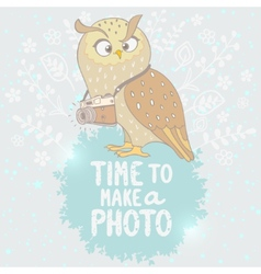 owl and camera vector image