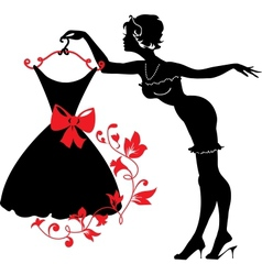 Pin up woman silhouette vector image vector image