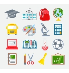 School and Education Colorful Icons vector image vector image