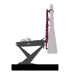 Silhouette space ship before the launch into orbit vector image vector image