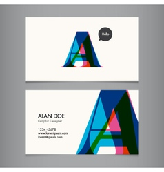 Business card template letter A vector image vector image